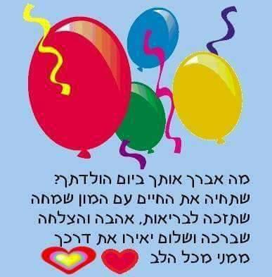 ברכה ליום הולדת,בלונים,כיתוב,ברכות ליום הולדת שמח